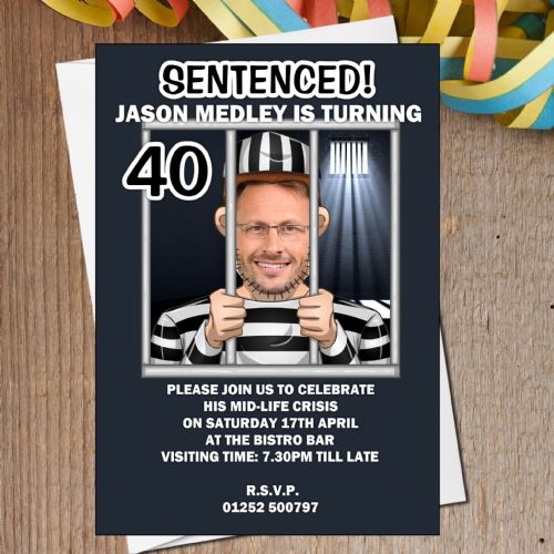 10 Personalised Jail Break Humour Birthday Party PHOTO Invitations N163